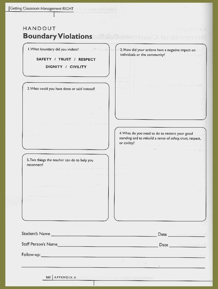 Worksheets Building Relationships in Secondary Classrooms A – Conflict Worksheets